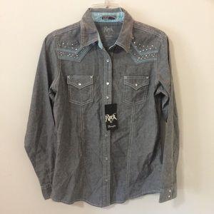 NWT Wrangler Rock 47 Distressed Western Shirt